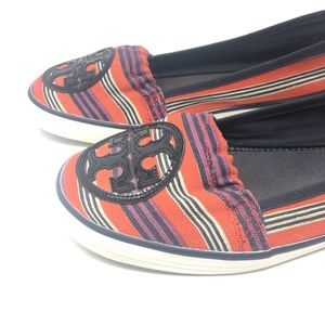 Tory Burch Reva Stripe Slip On Canvas Sneaker 10